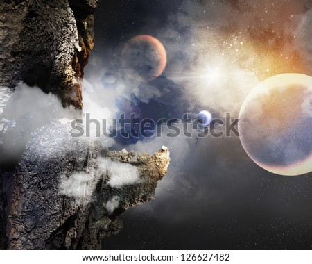 Image of planets in fantastic space against dark background