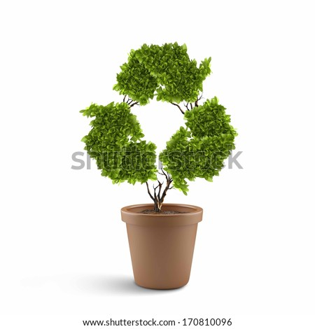 Image of plant in pot shaped like recycle symbol
