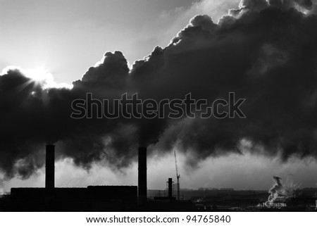 Image of power plant emissions - stock photo