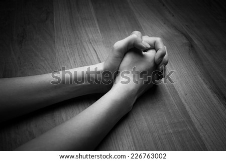 Image of praying woman hands - stock photo