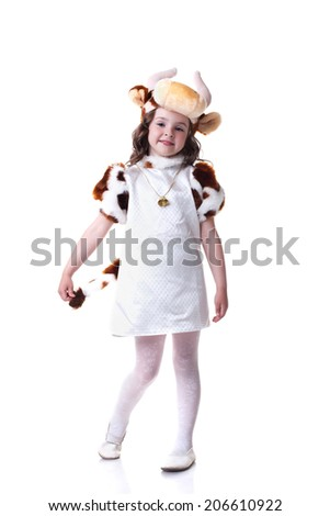 Image of pretty little girl in cow costume - stock photo