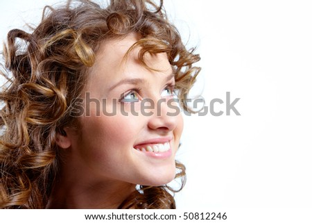 Image of pretty woman with beautiful curly hair - stock photo