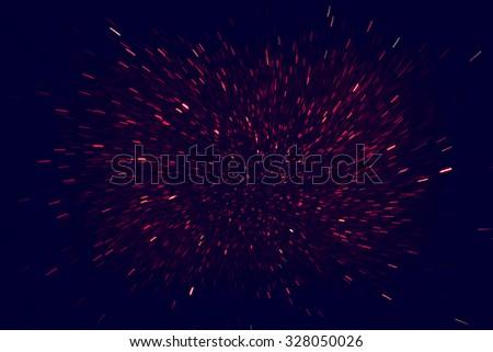 image of red dark light burst, defocused bokeh lights - stock photo