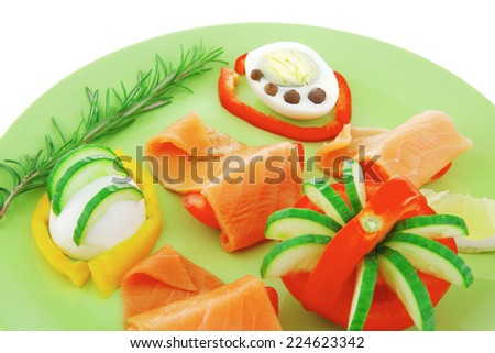 image of red smoked salmon and vegetables - stock photo