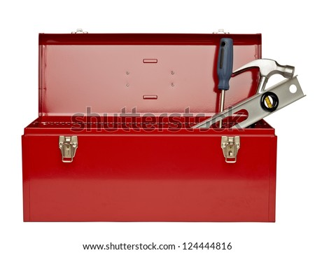 Image of red tool box with tools against white background - stock photo