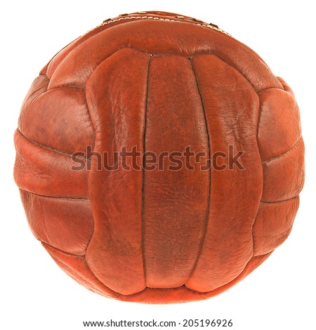 image of retro leather soccer ball. - stock photo