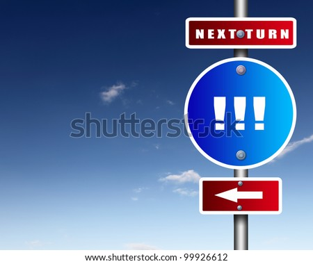 Image of road sign agaisnt blue sky