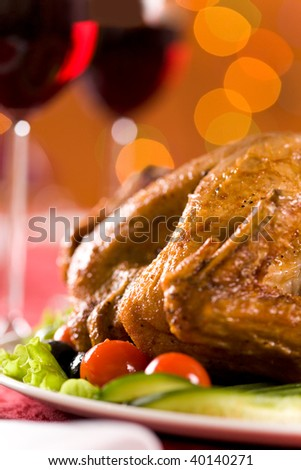 Image of roasted turkey with vegetables - stock photo