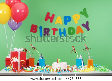 Image of room after birthday party - stock photo