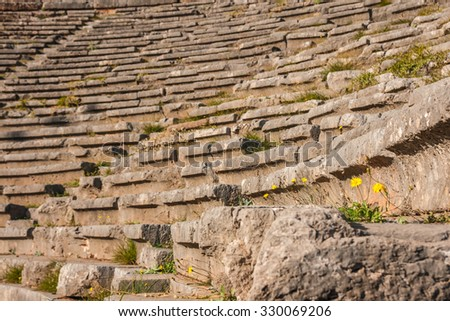 Image of Ruins of an ancient greek theatre at Delphi, Greece