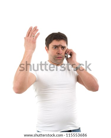 Image of sad young man with phone - stock photo