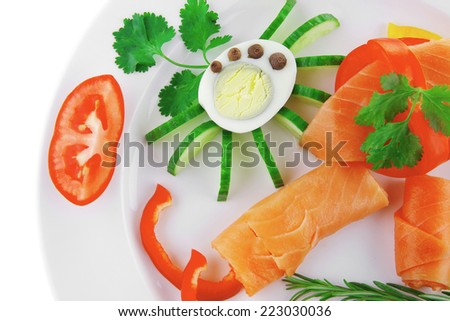 image of salmon slices and vegetables with eggs - stock photo