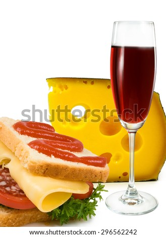image of sandwiches, cheese and a glass of wine - stock photo