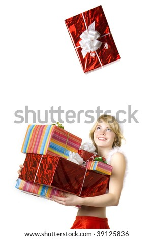 Image of santa girl with presents on white background