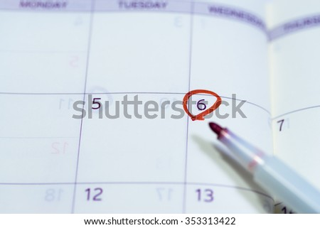 Image of schedule planning, with calendar and pen - stock photo