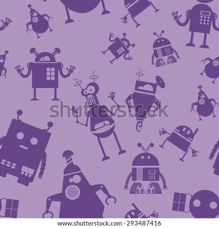 Image of seamless pattern with robots - stock photo