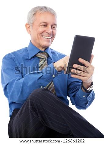 Image of senior businessman using digital tablet, isolated on white - stock photo