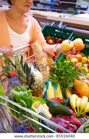 Image of senior woman with fresh vegetables and fruits in cart - stock photo