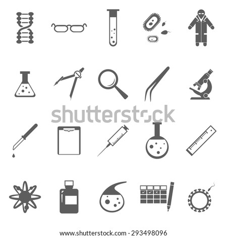 Image of set of Genetic gray icons - stock photo