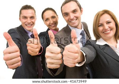 Image of several business people showing thumbs up and smiling - stock photo