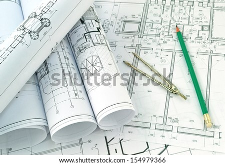 Image of several drawings of the project - stock photo