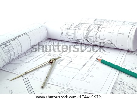 Image of several drawings of the project and instruments /Project drawings