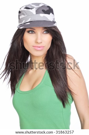 image of sexy lovely brunet in military hat - stock photo