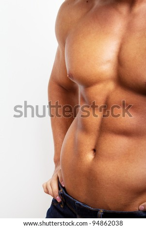 Image of sexy strong man in jeans