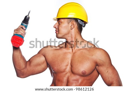 Image of sexy worker with screwdriver and yellow hardhat