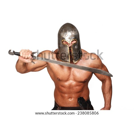Image of shirtless angry warrior with sword in his hands - stock photo