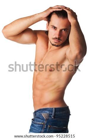 image of shirtless perfect male with muscular build posing.Perfect male concept - stock photo