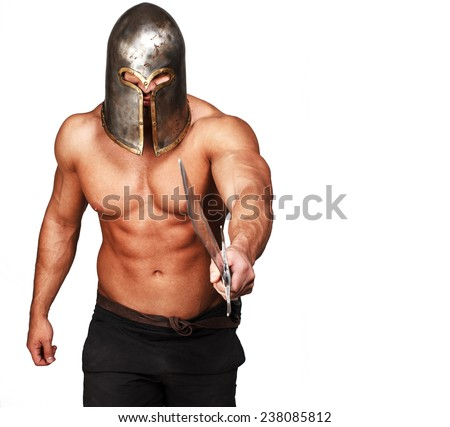 Image of shirtless warrior who is poiting with sword on someone - stock photo