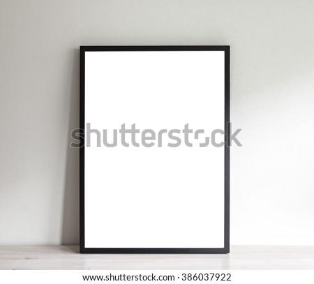 Image of simple poster frame mockup scene.  - stock photo