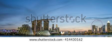 Image of Singapore at dusk - stock photo