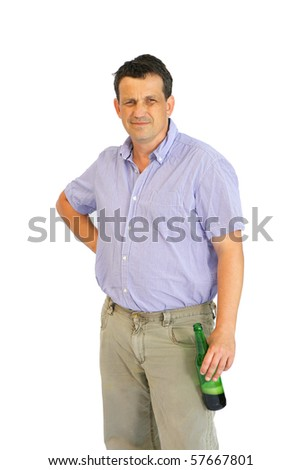 image of single man resting with bottle of beer