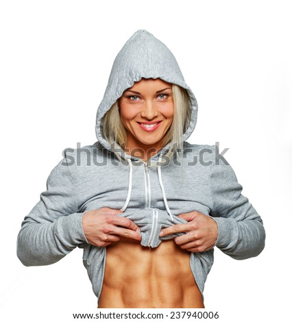 Image of smiling fit blondie - stock photo