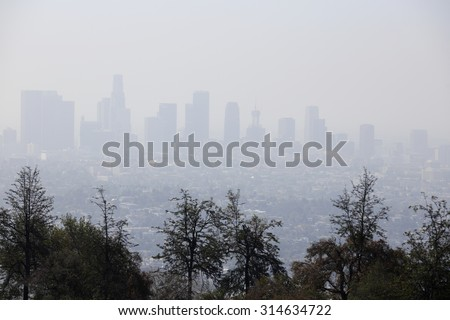 Image of smog in the air Los Angeles California - stock photo