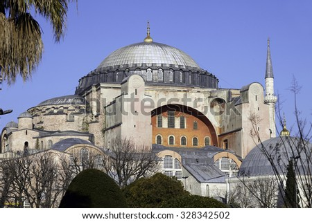Image of Sophia Cathedral Historical Building at Istanbul City Daylight Blue Sky - stock photo