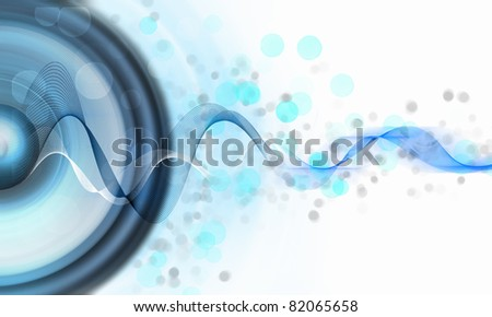 image of speakerphones and sound against white background - stock photo