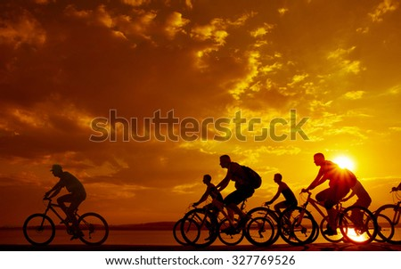 Image of sporty company friends on bicycles outdoors against sunset. Silhouette A lot phases of motion go of seven 7 cyclist along shoreline coast Reflection sun on water Copy Space for inscription