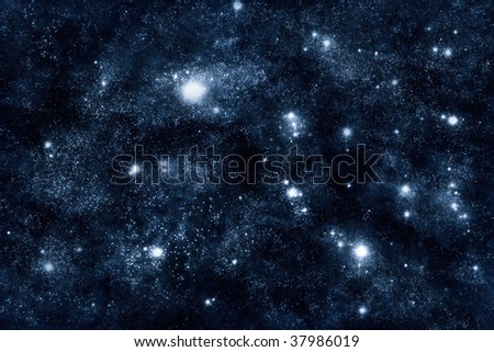 Image of stars and nebula clouds in deep space - abstract background of starfield universe - stock photo