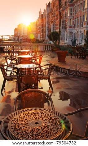 Image of street cafe early morning - stock photo
