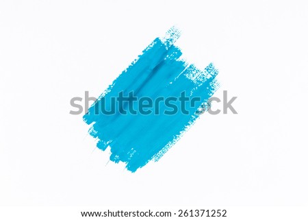 Image of stroke blue paint brush color water watercolor on white background - stock photo