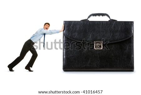Image of strong businessman pushing his big business - stock photo