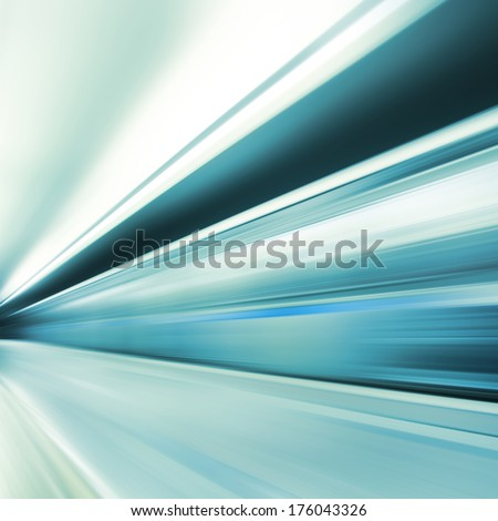 Image of subway train in motion blur. - stock photo