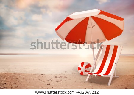 Image of sun lounger and sunshade against serene beach landscape - stock photo