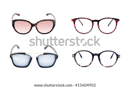 Image of sunglasse and frame eyeglasse on white background. - stock photo
