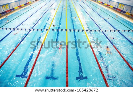 Image of swimming pool. The top view - stock photo