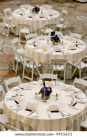 image of tables set for an event, party or wedding reception - stock photo