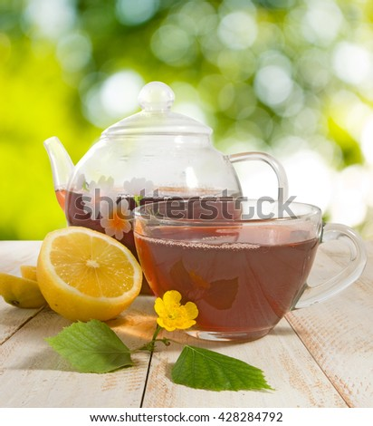 image of tea and biscuits closeup - stock photo